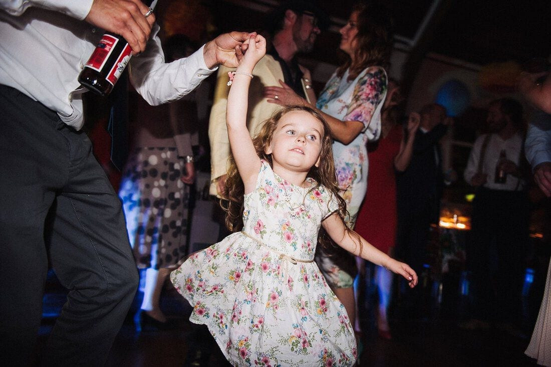 dancing child at wedding