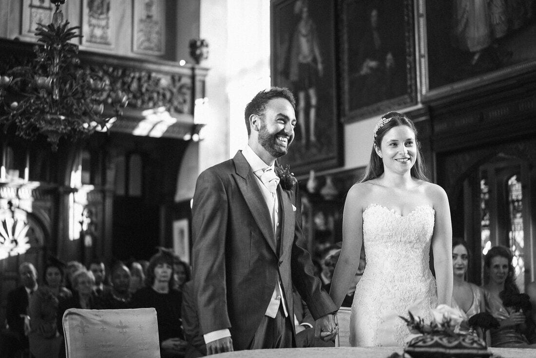 laughter during a Loseley Park wedding ceremony