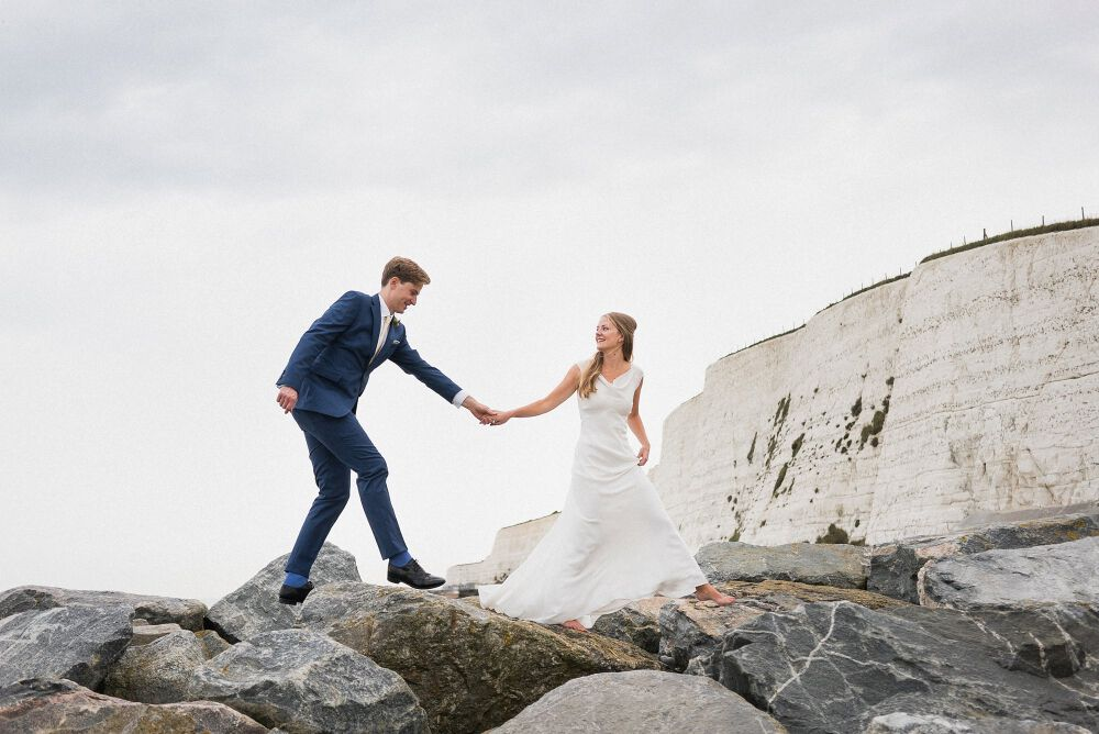 a dramatic wedding portrait on the south coast
