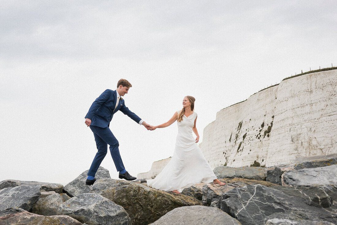 a dramatic wedding portrait on the south coast