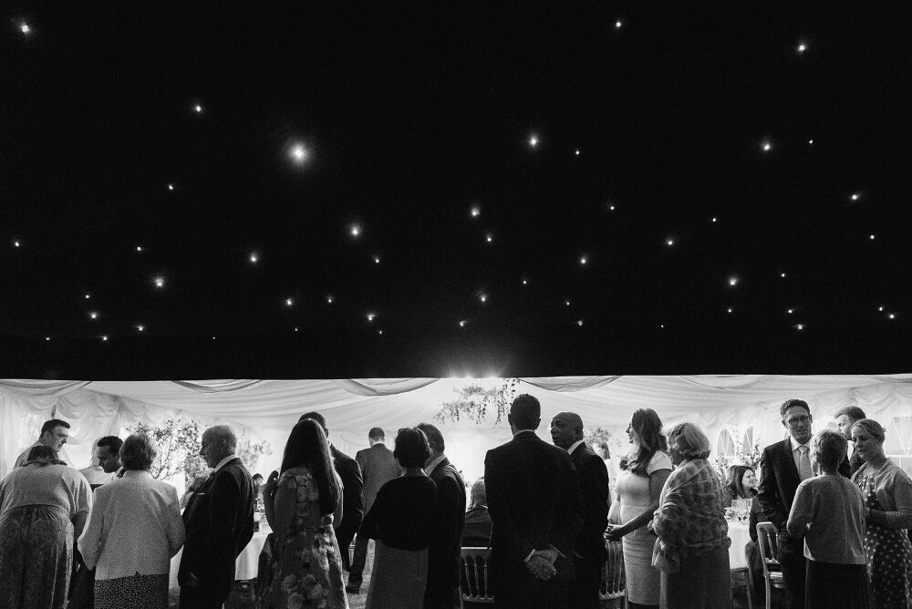 the wedding marquee at night