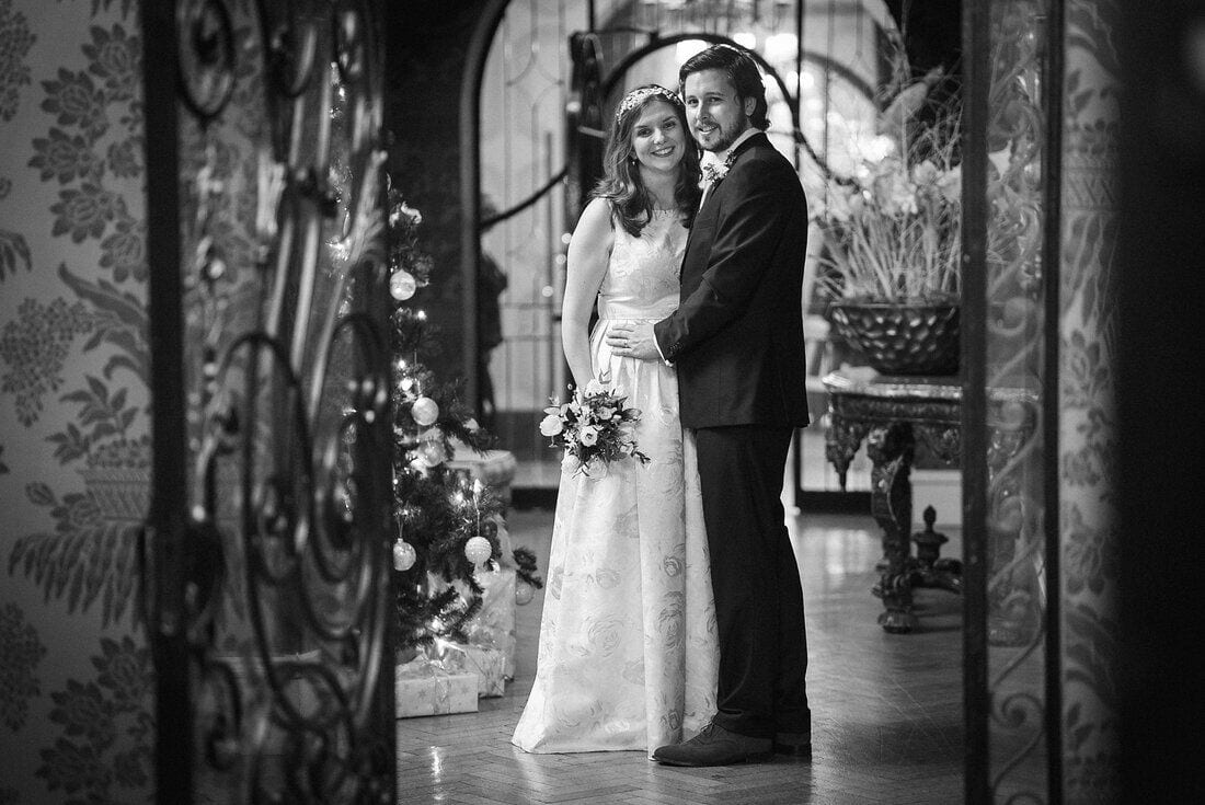 winter wedding portrait at Pennyhill Park