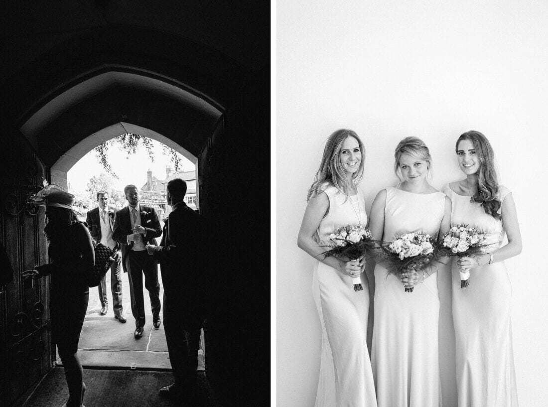 guests arrive at church and bridal portraits