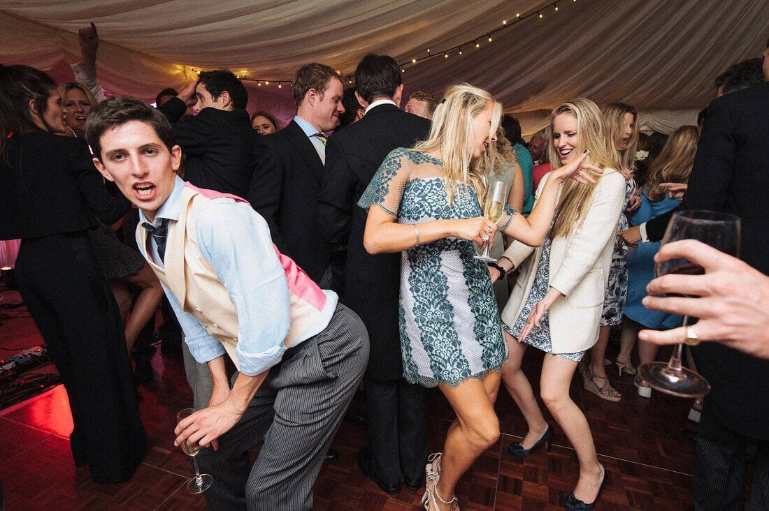 revellers enjoy the wedding disco
