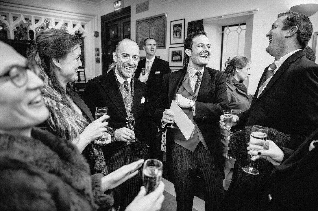 wedding guests enjoy champagne reception