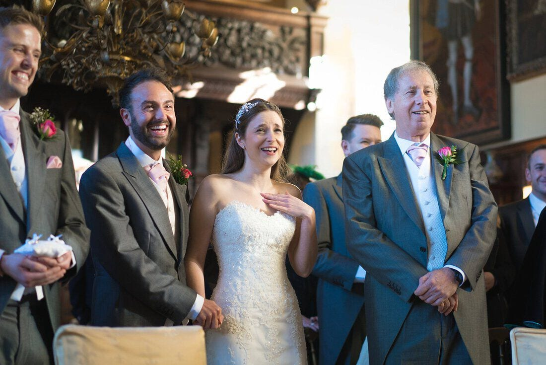 a lighter moment during the wedding ceremony