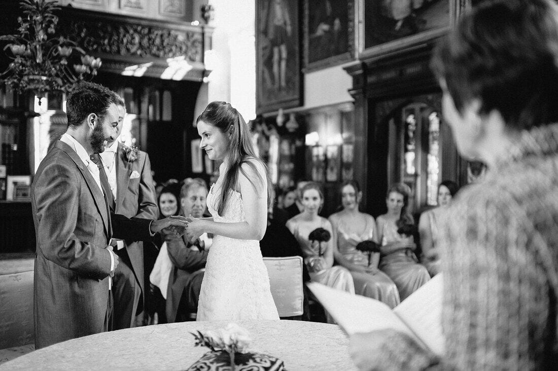 exchanging rings during the wedding ceremony