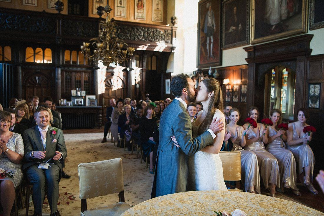 the first kiss at Loseley House in Guildford