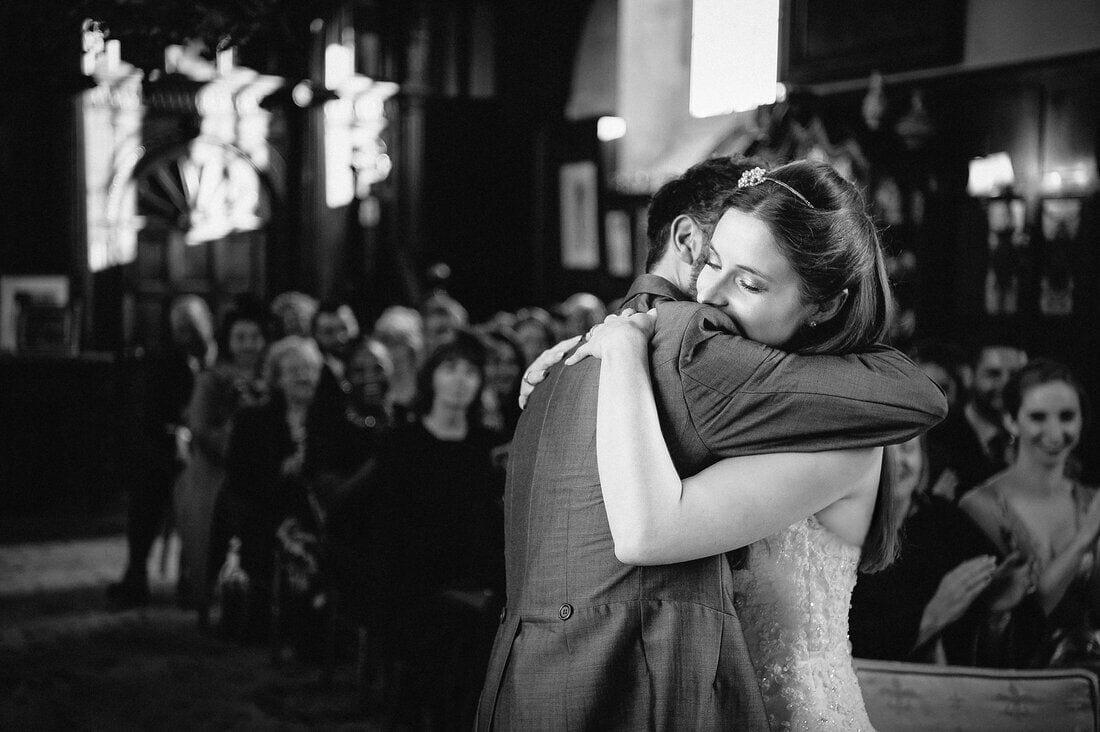 a hug to celebrate marriage