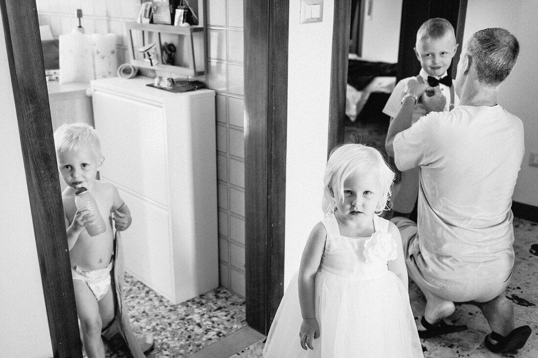 kids getting ready on the wedding morning