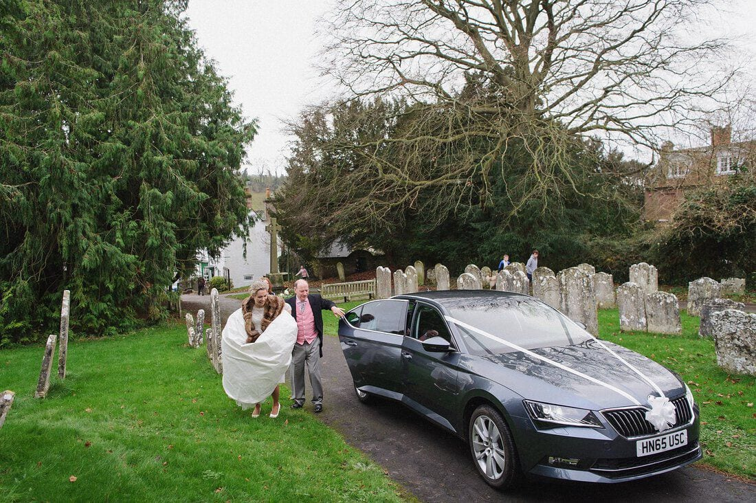 the bride arrives at church