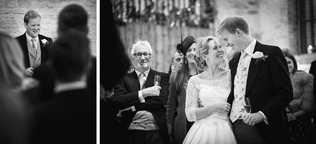 bride and groom react to the best man's speech