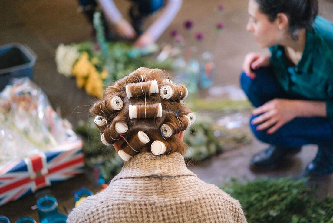 mother of the bride in curlers