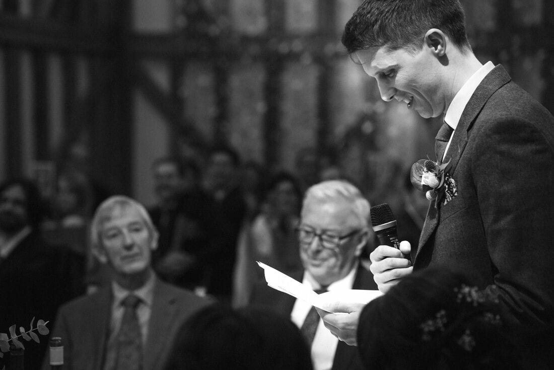 the groom gives his wedding speech