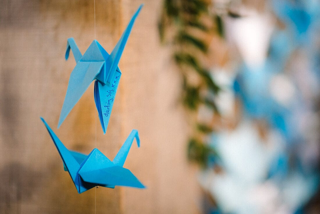 a message on the paper cranes
