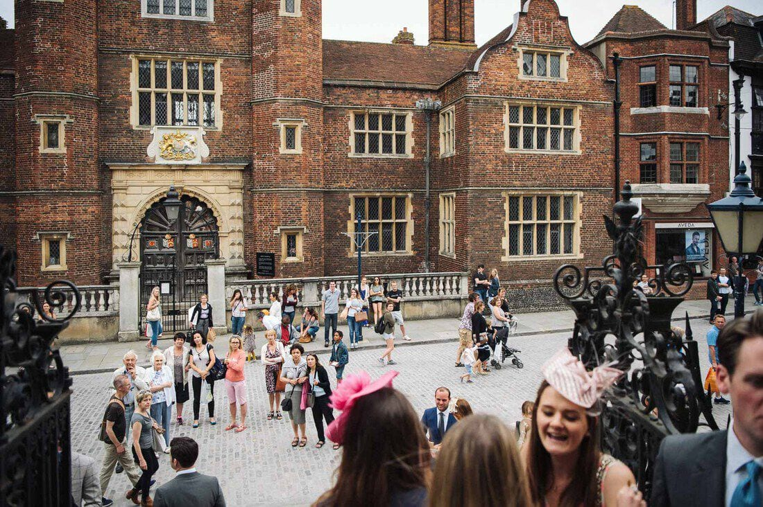 Wedding guests outside the church on guildford high street