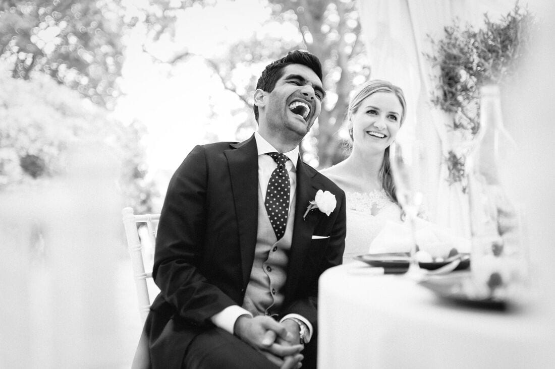 the groom reacts to the best man's speech
