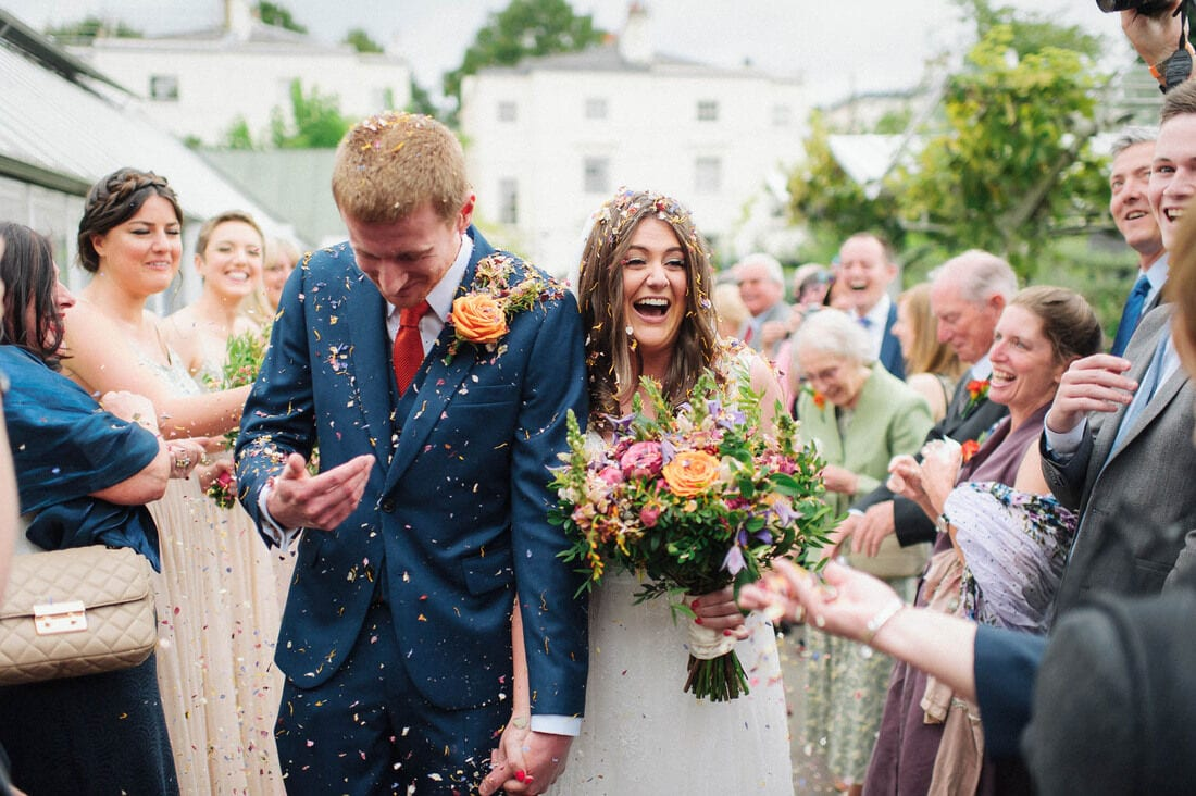 confetti at clifton nurseries wedding
