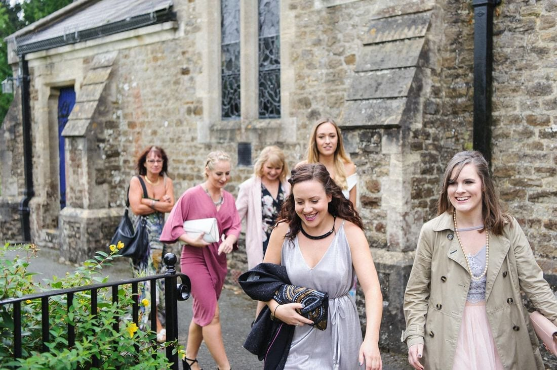 wedding guests arriving for the ceremony