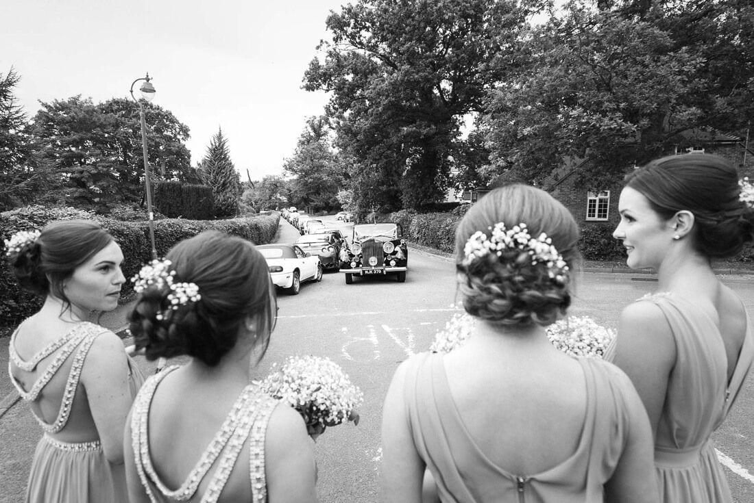 bridesmaids waiting for the bride to arrive at church