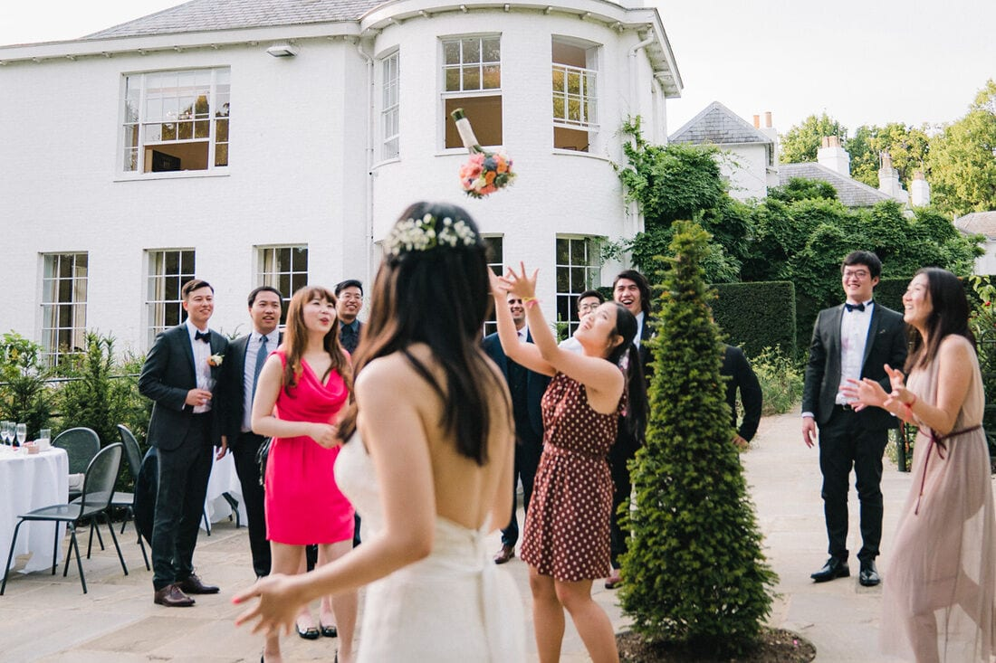throwing the wedding bouquet