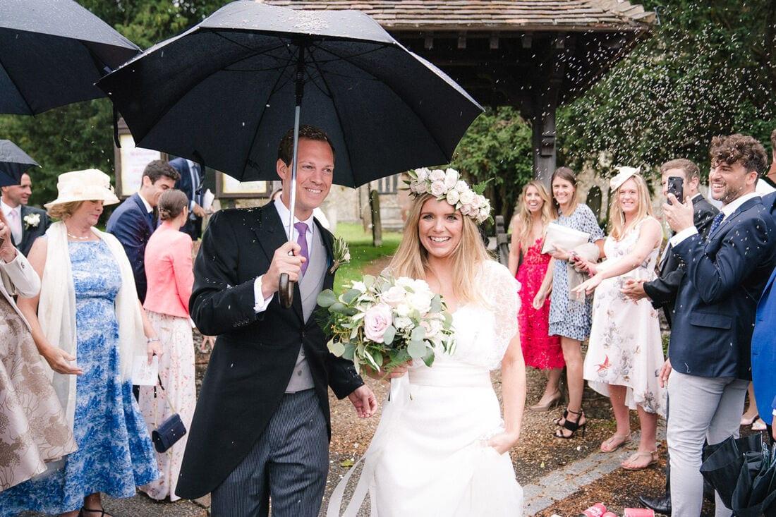 wedding confetti in the rain