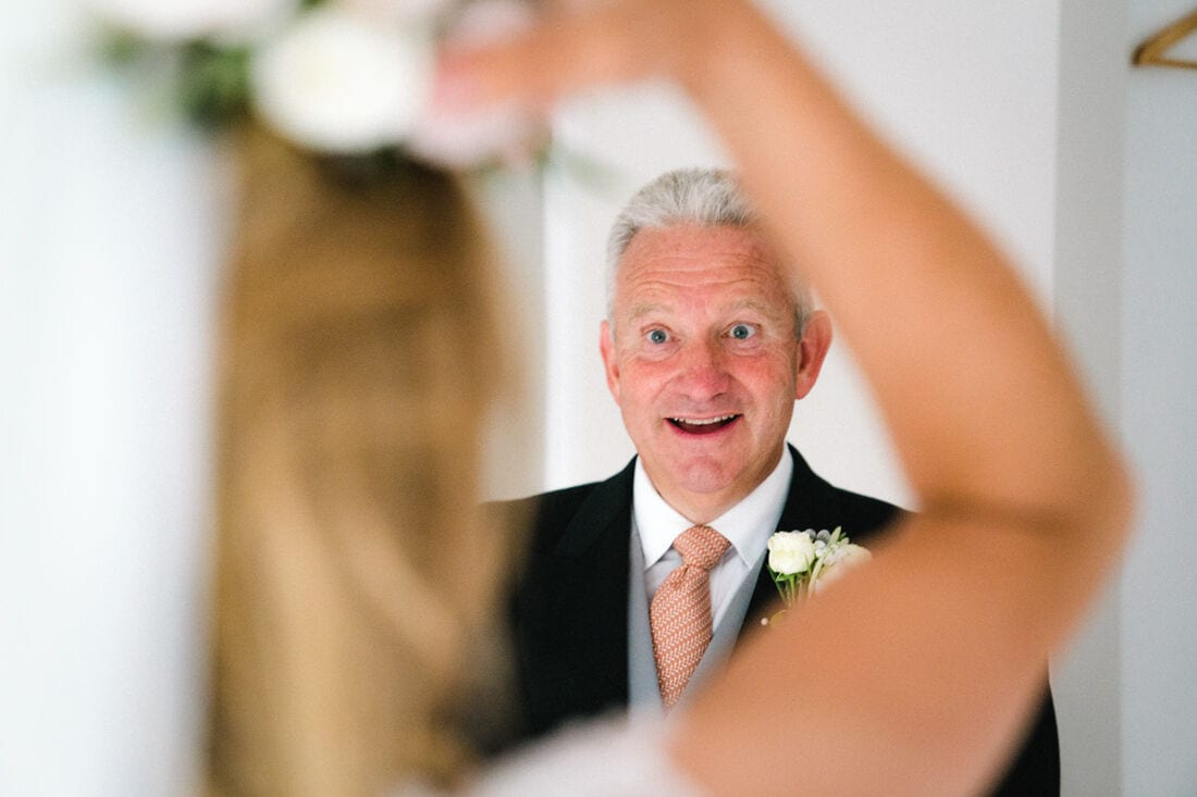 the father of the bride sees his daughter