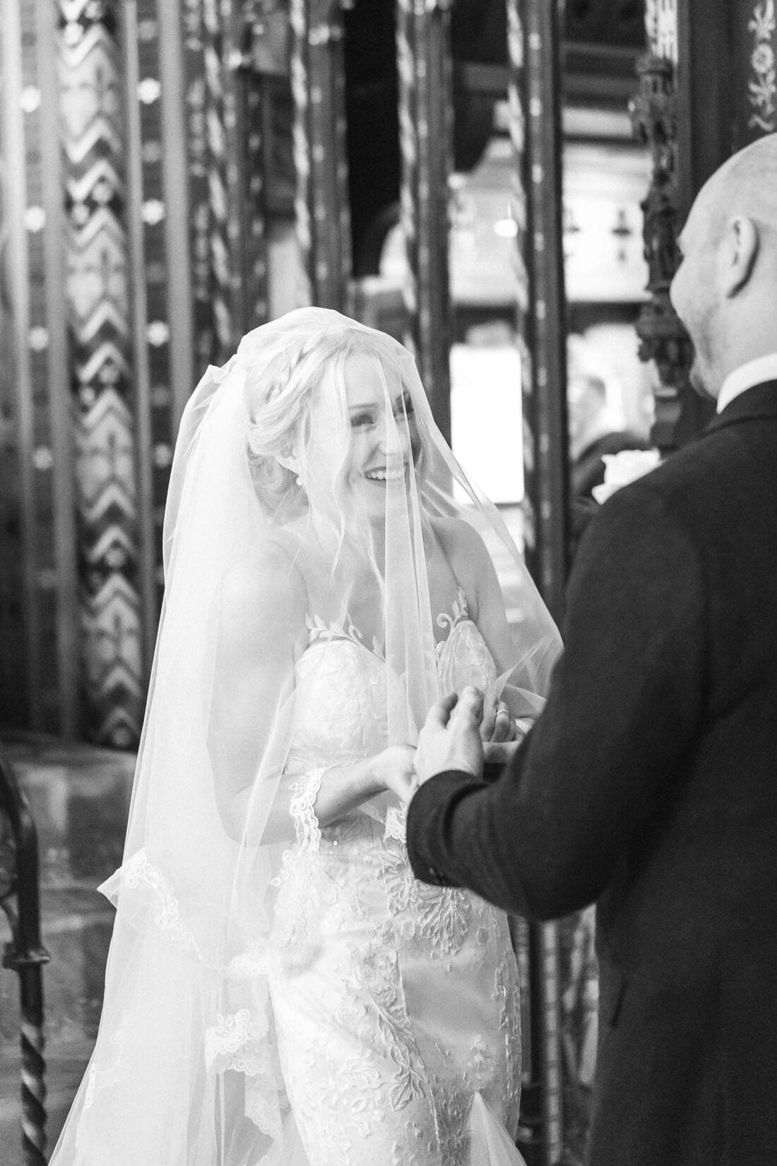 laughter from the bride as rings are exchanged
