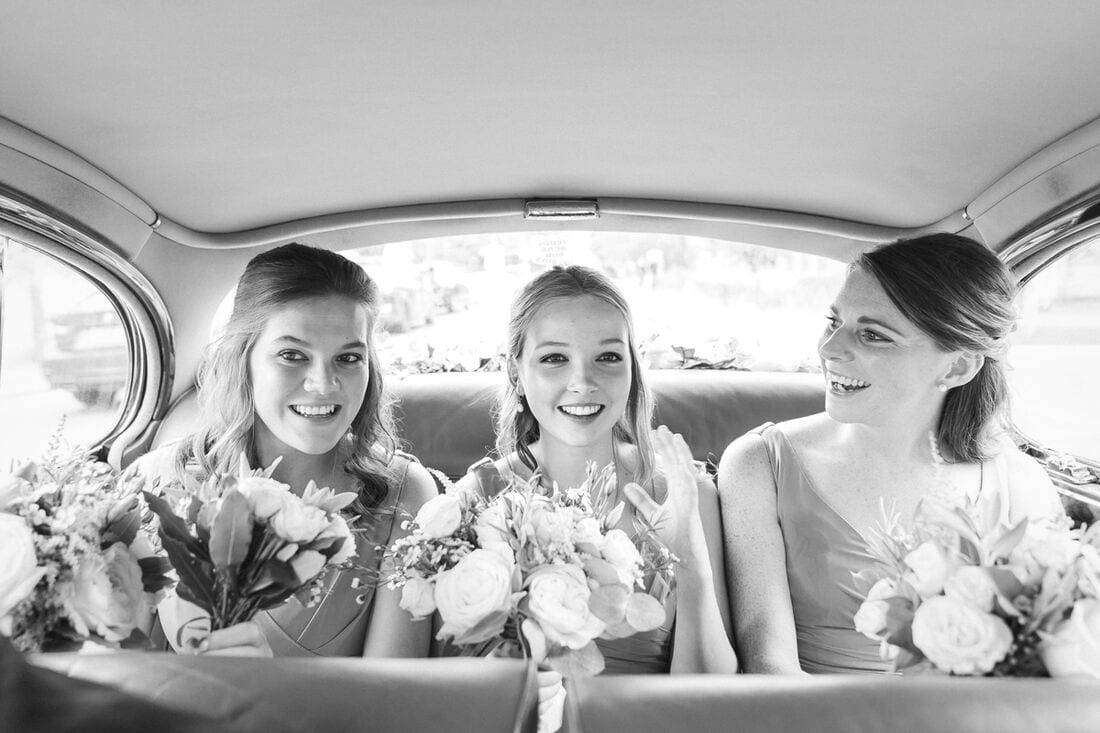 bridesmaids on their way to the sacred heart wimbledon
