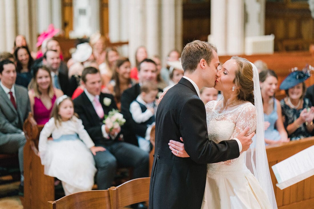 the couples first kiss having become husband and wife