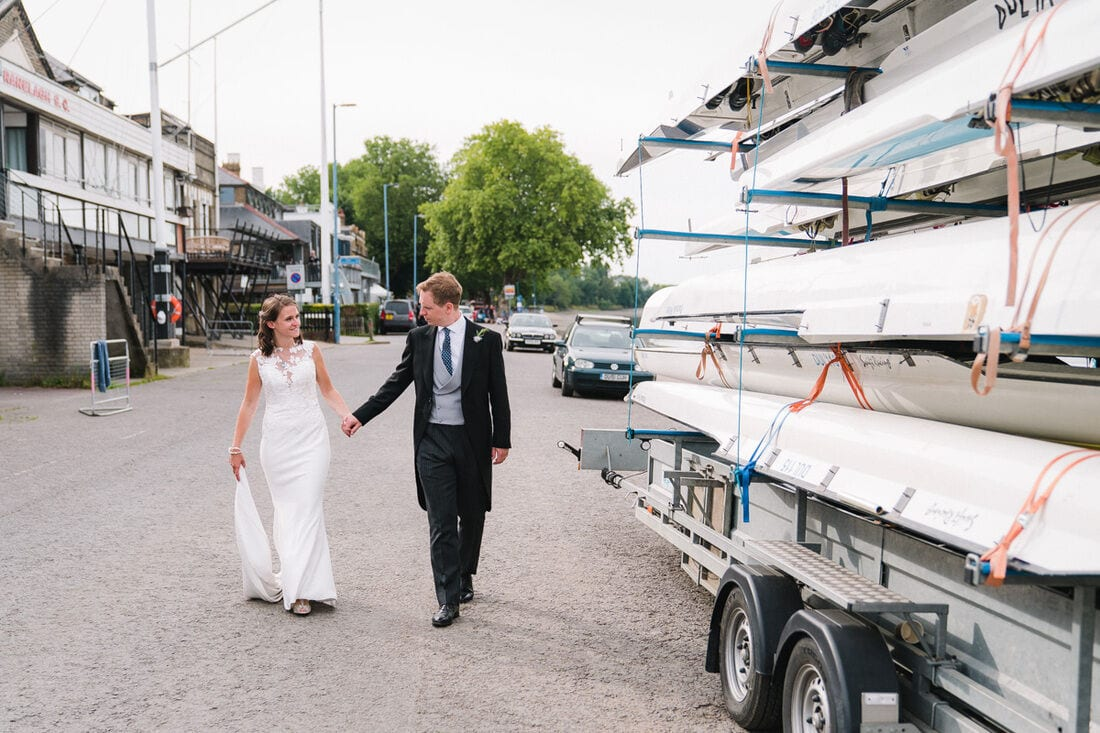 a relaxed wedding portrait on the banks of the Thames in Putney