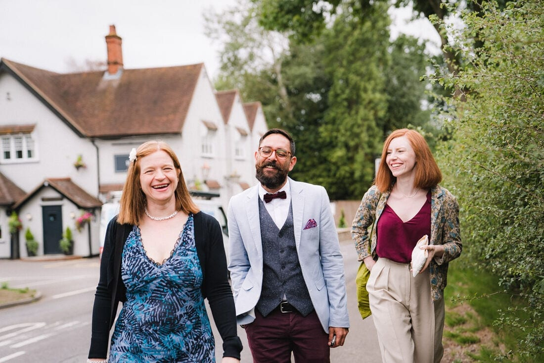 wedding guests arriving at church in Berkshire