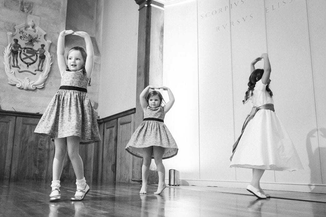 flower girls practice their dance moves