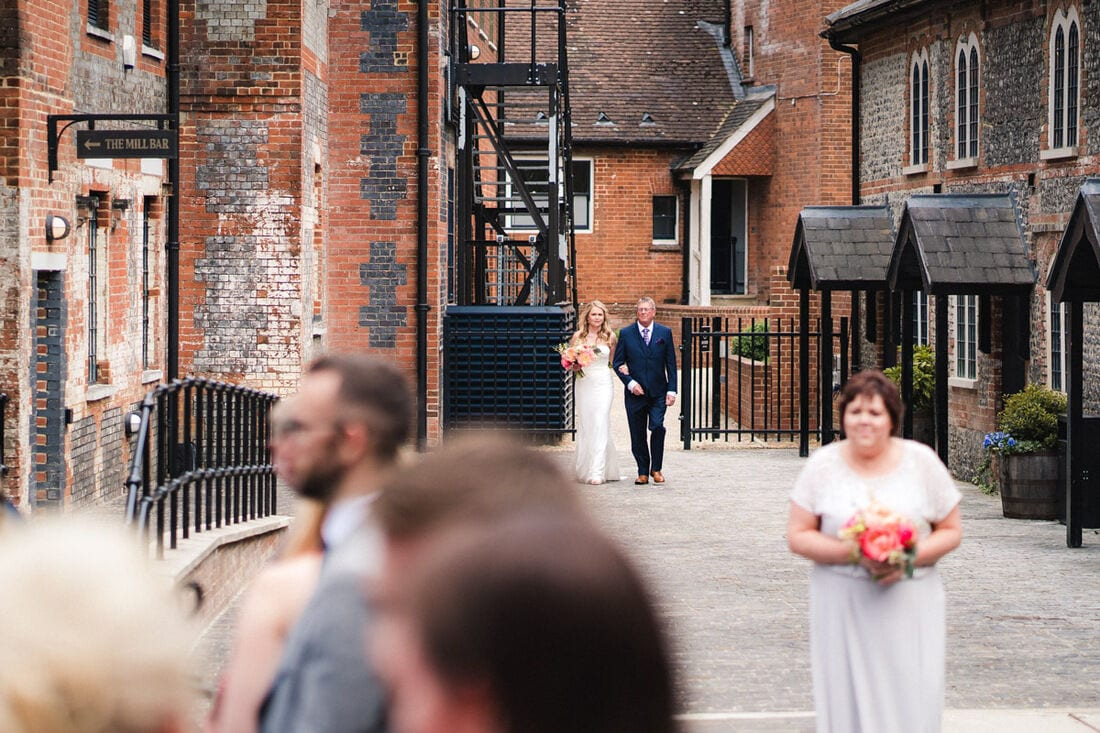 arriving at the outdoor ceremony in hampshire
