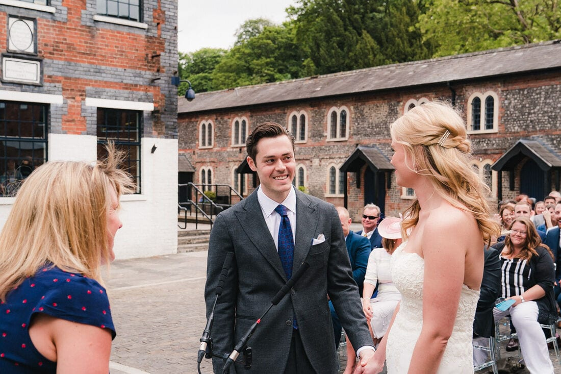 open air humanist wedding ceremony at bombay sapphire gin distillery hampshire