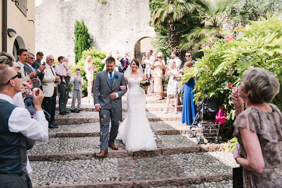 bubbles for confetti at the steps of malcesine castle on lake garda
