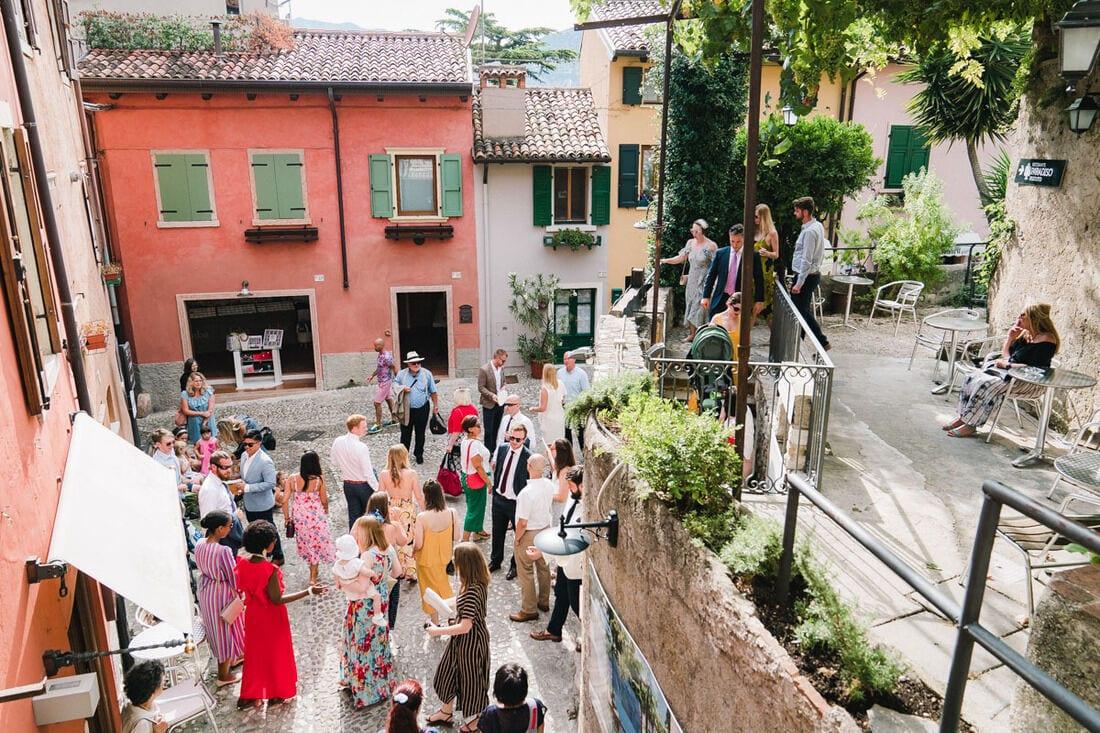 wedding guests at Malcesine Castle Lake Garda