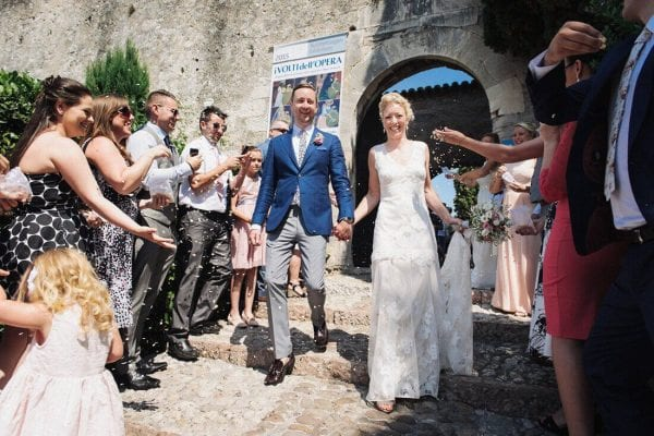 wedding confetti leaving malcesine castle