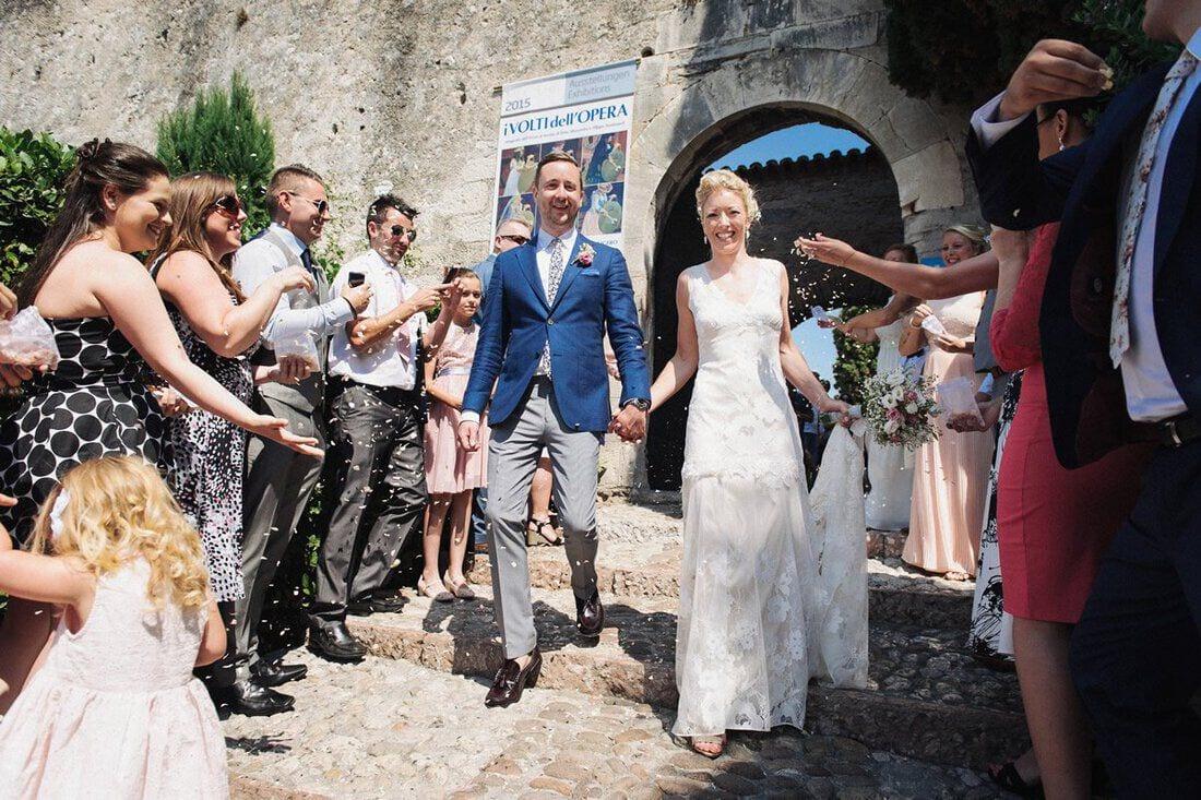 wedding confetti leaving malcesine castle