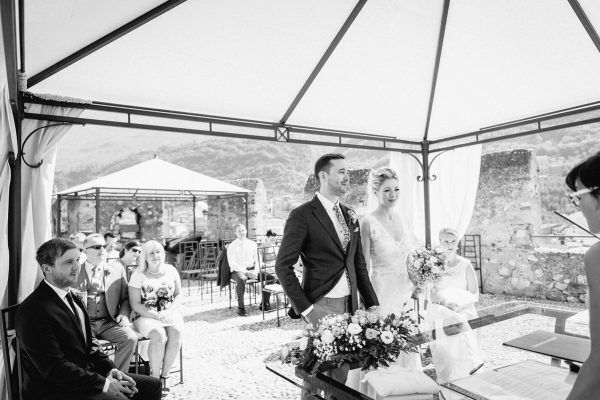 wedding ceremony on the terrace at Malcesine Castle