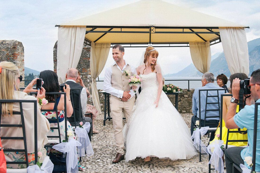 just married at Malcesine Castle Italy