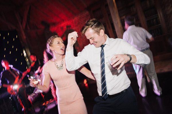 partying wedding guests