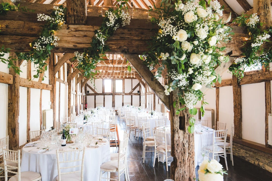 the tithe barn at Loseley Park wedding venue in Guildford
