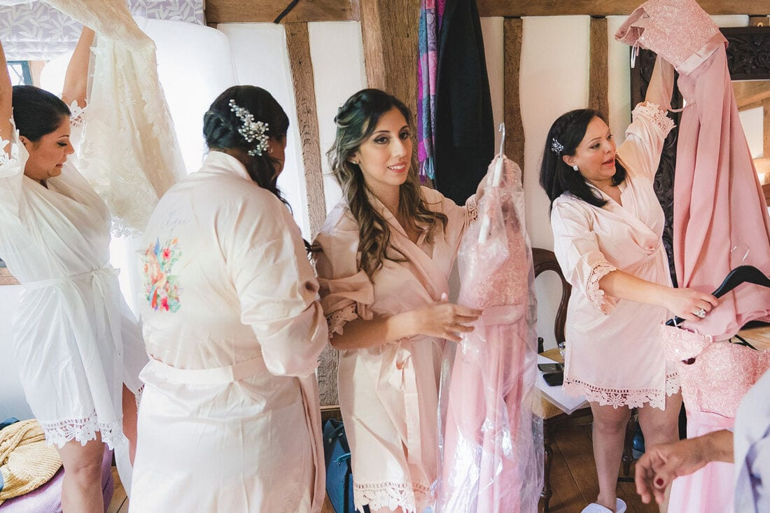 the bride and bridesmaids getting ready at Cain Manor in Hampshire