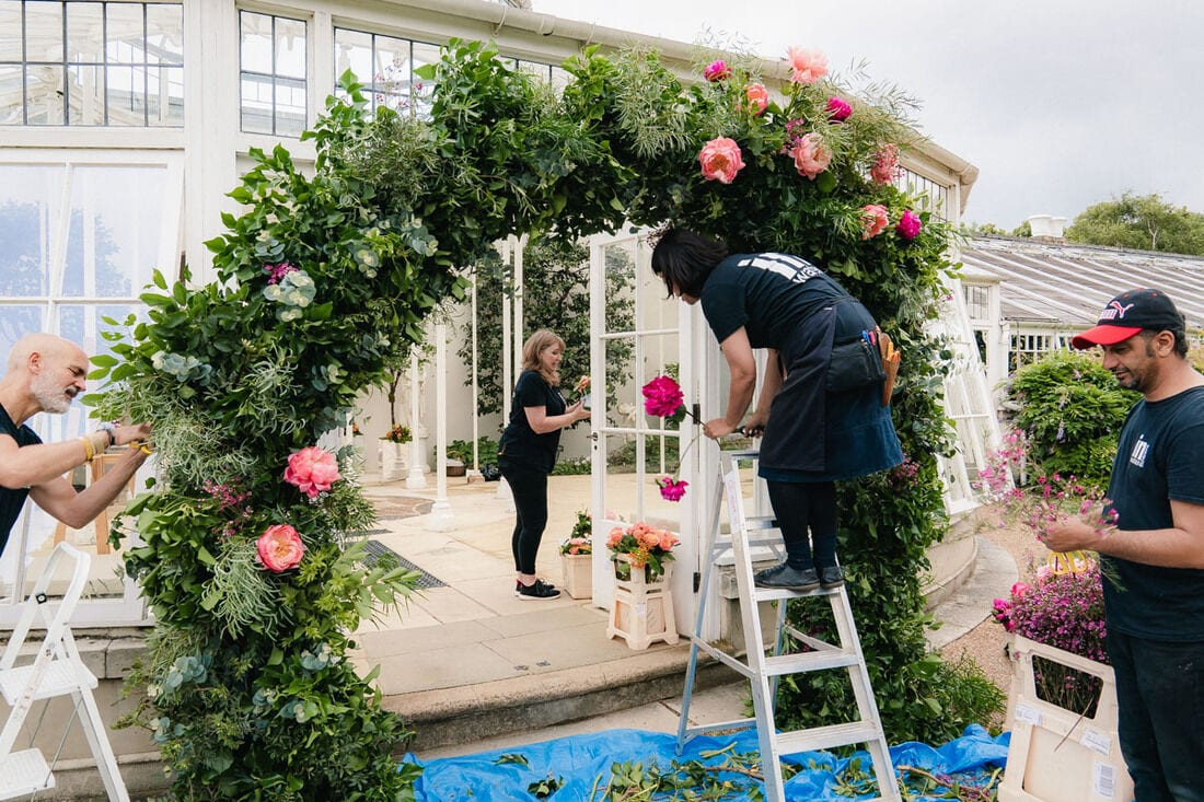 making the flower arch at the conservatory at chiswick house