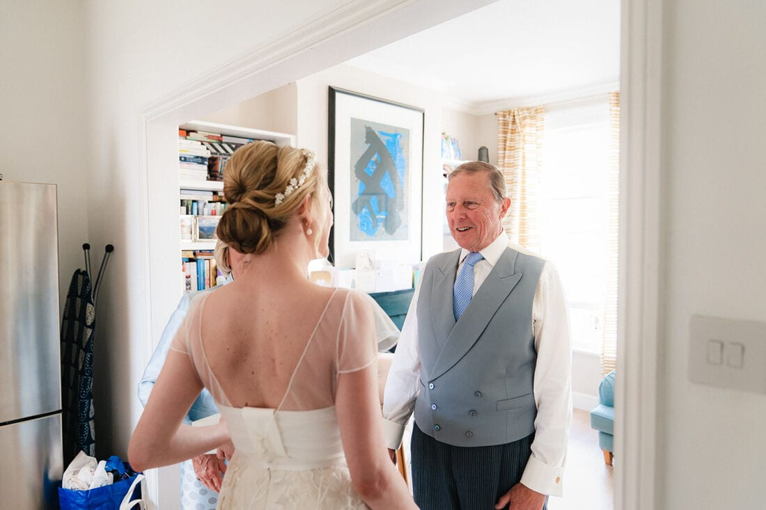 a proud father of the bride on the morning of their chiswick house wedding