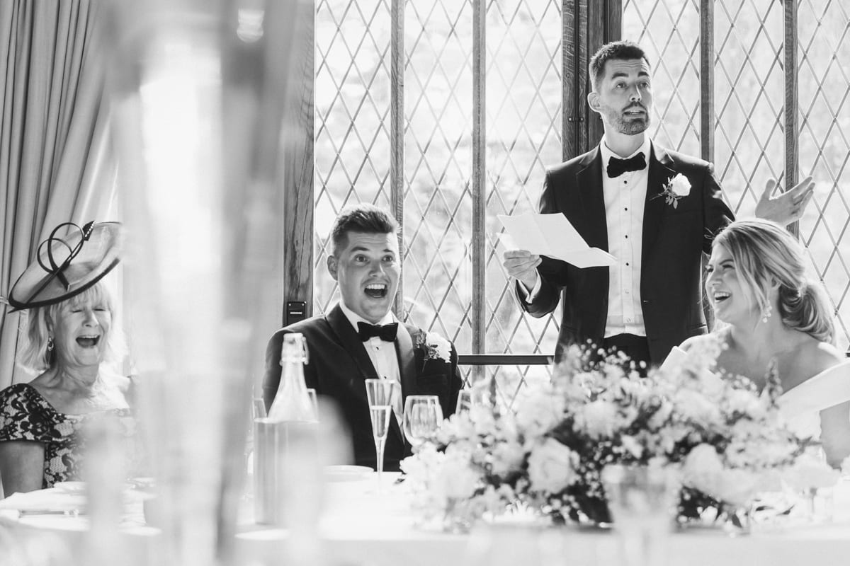the best mans speech during a wedding at Cain Manor