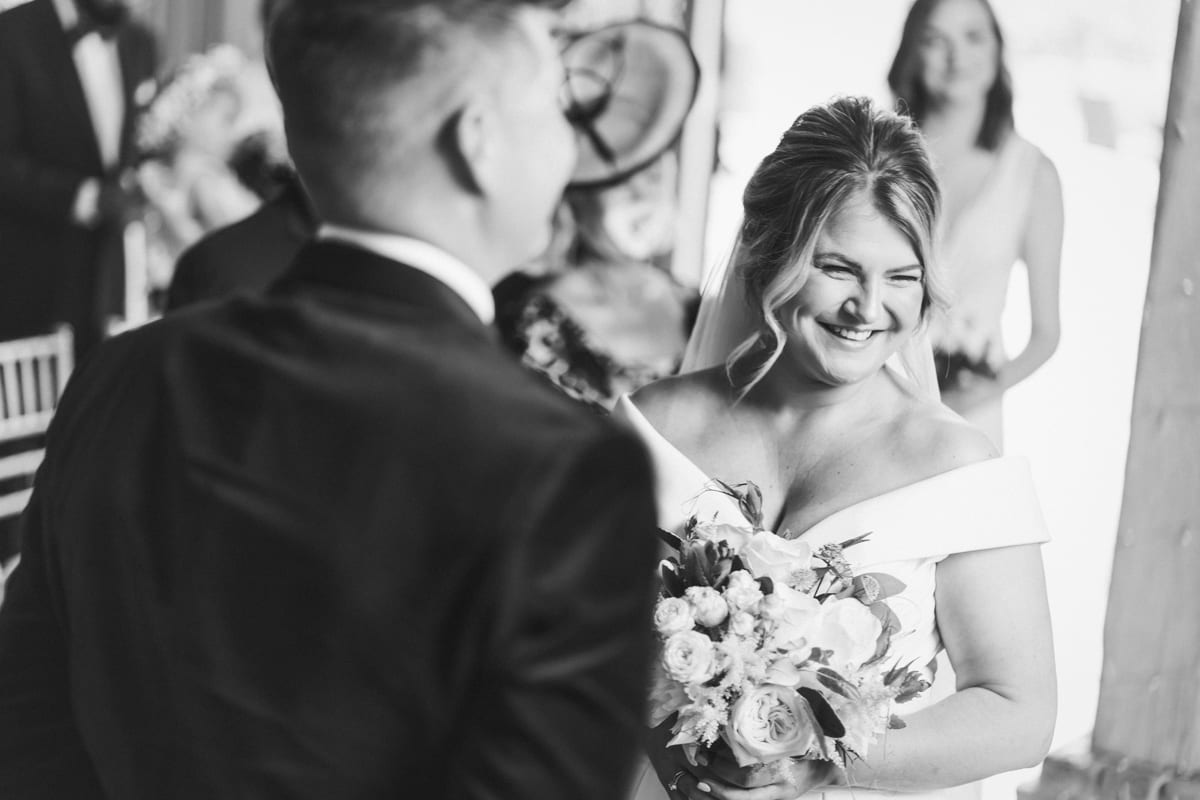 a wonderful moment of joy during the marriage ceremony at Cain Manor