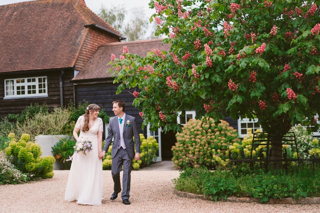 bride and groom portraits at Gate Street Barn in Surrey