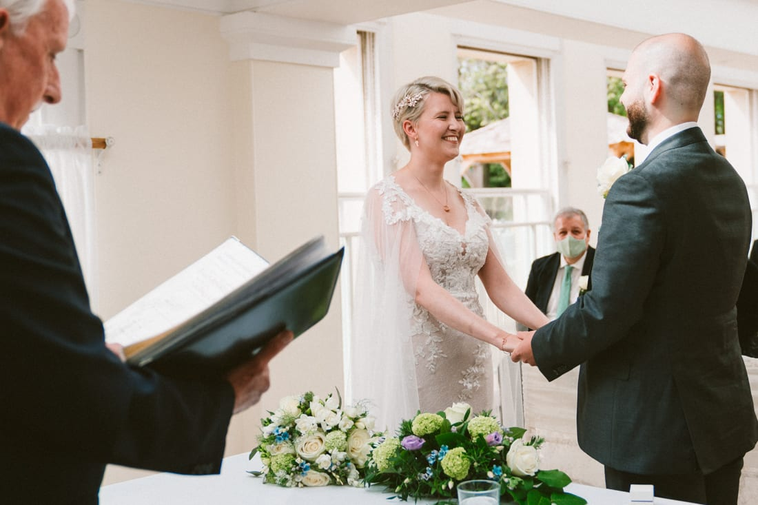 wedding ceremony in the belvedere suite at pembroke lodge